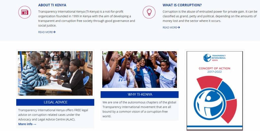 Transparency International Kenya (TI-Kenya) is the leading anti-corruption NGO.