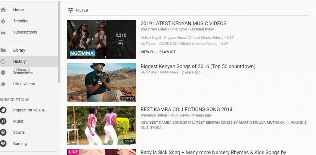 Kenyan music on YouTube.