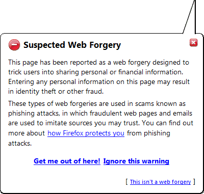 Phishing suspicious site warning.