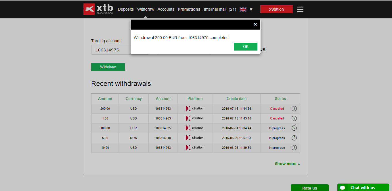 XTB Crypto Withdraw funds