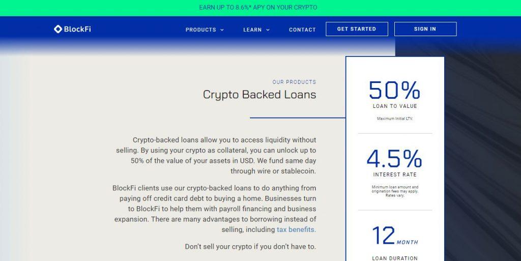 crypto backed loans